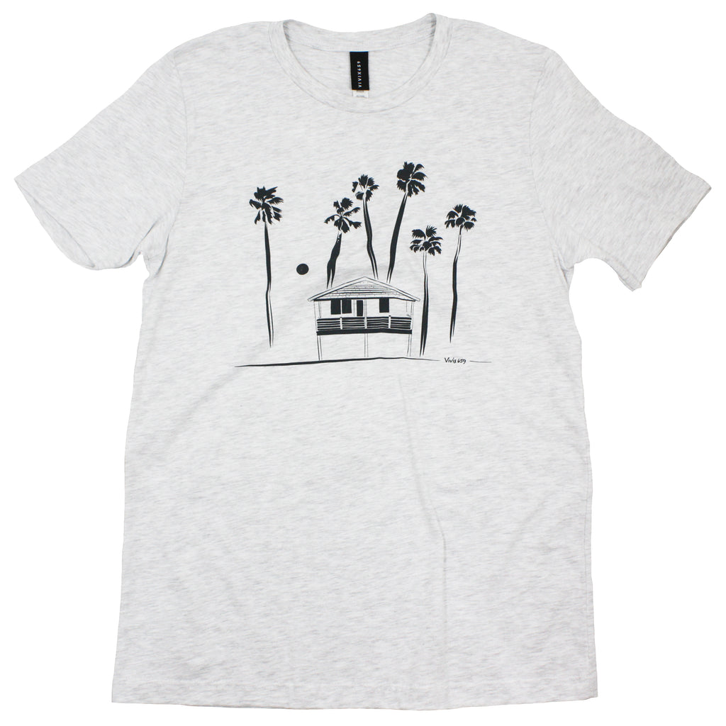Palm tree and house mens tee shirt