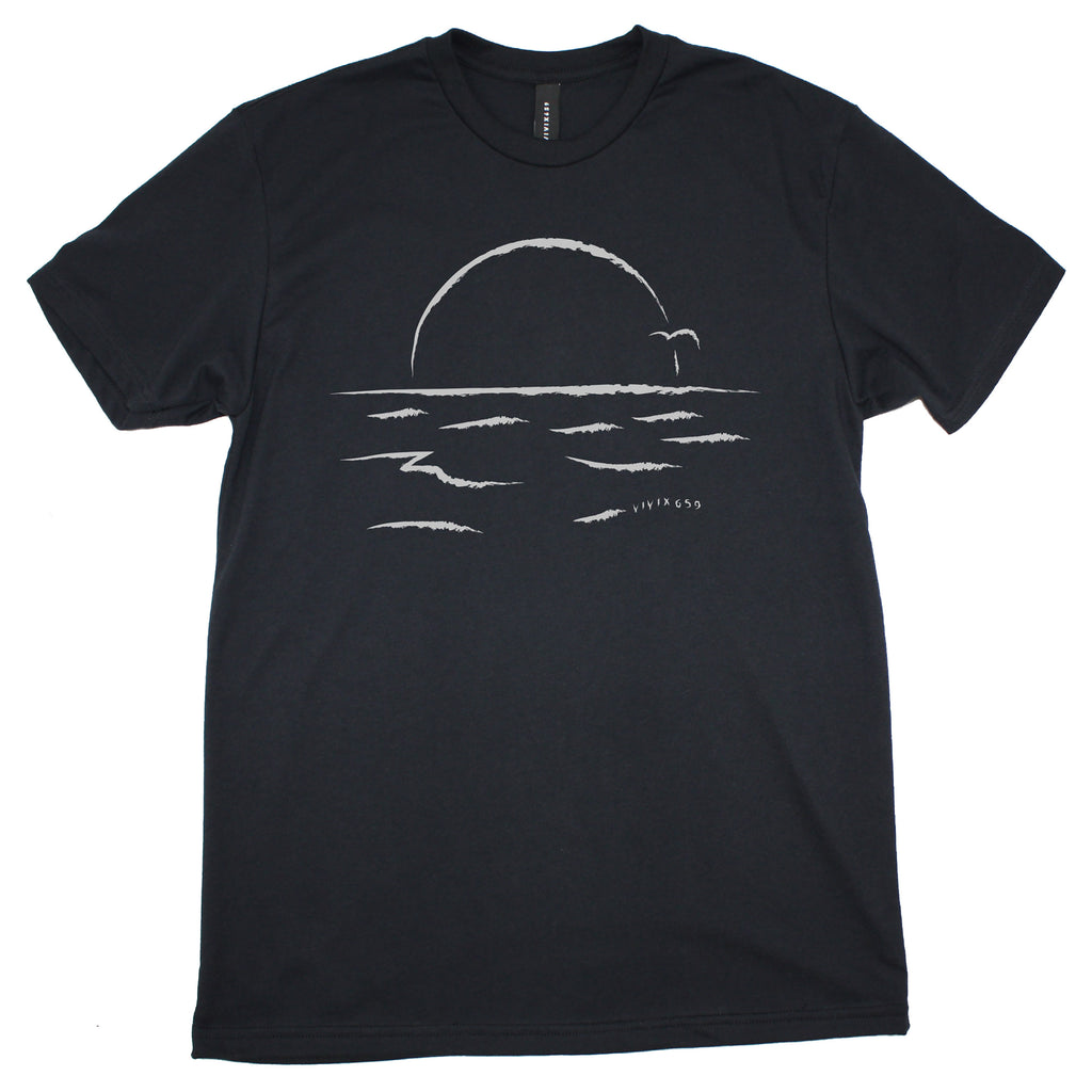 Mens artistic sun on water t shirt