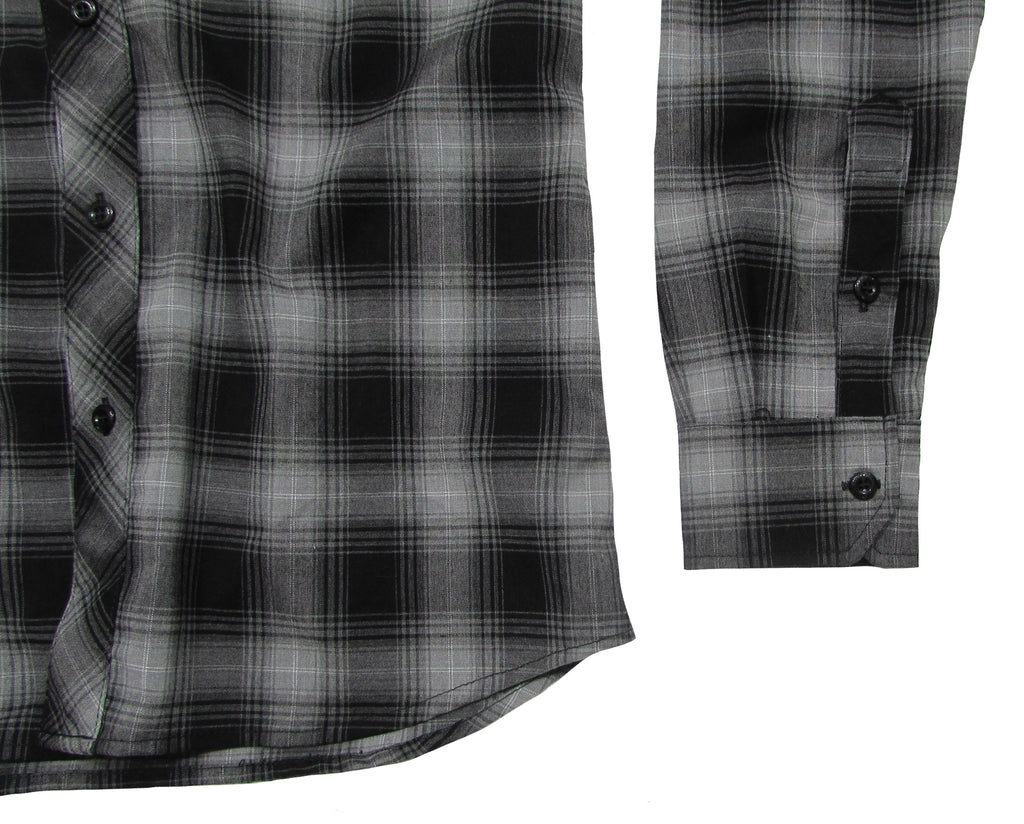 Men's plaid button up with stretch