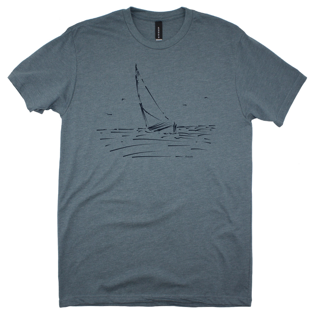 Art inspired mens sail boat tee shirt