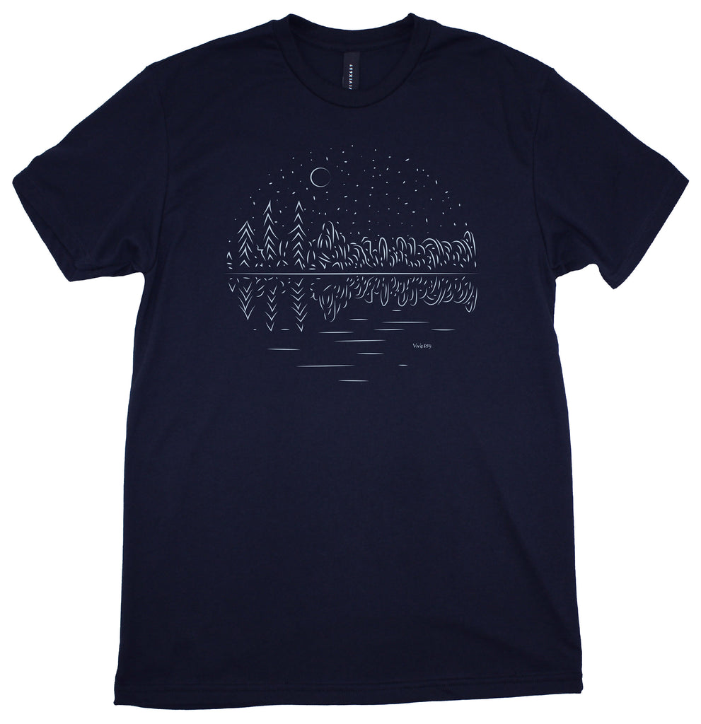 Men's forest at night tee shirt