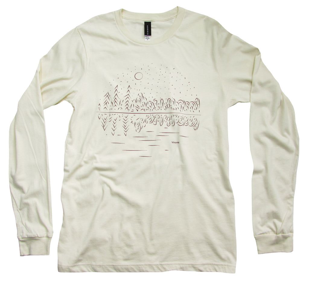 Men's long sleeve forest reflection on a lake