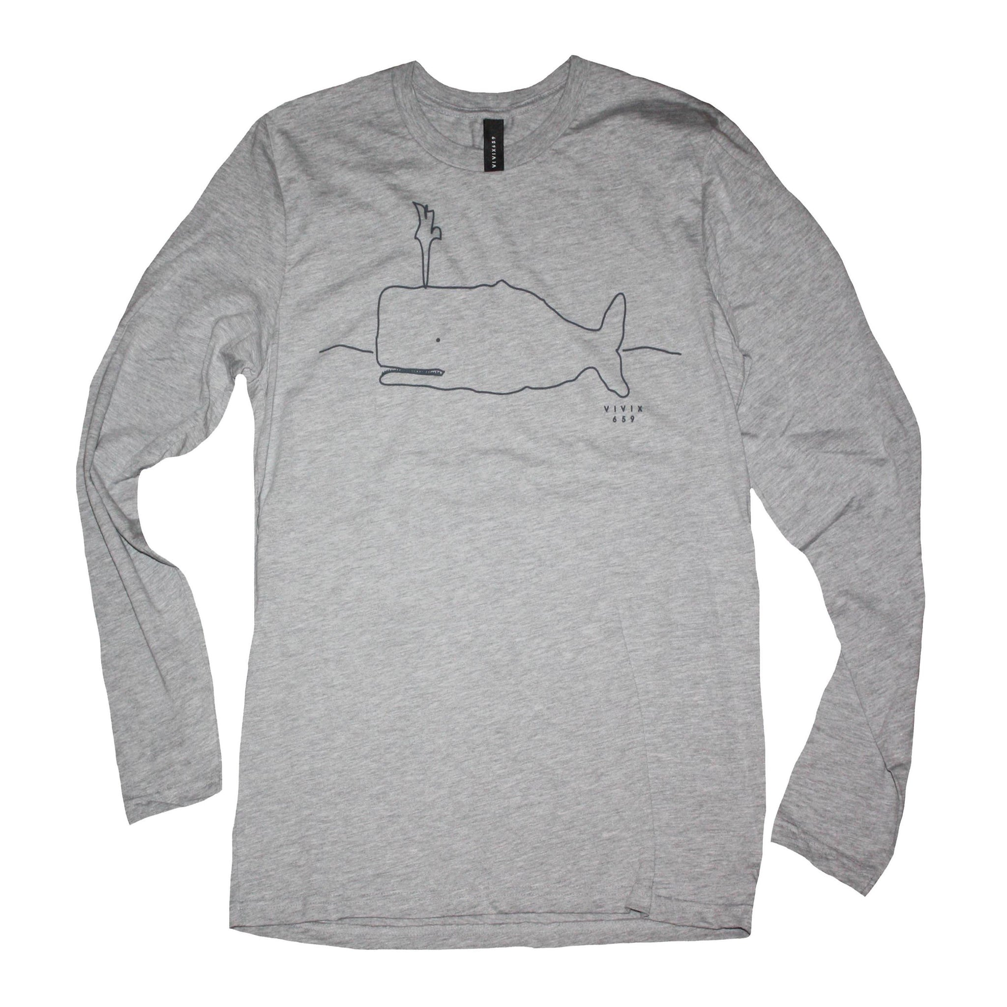Hand drawn whale long sleeve t shirt