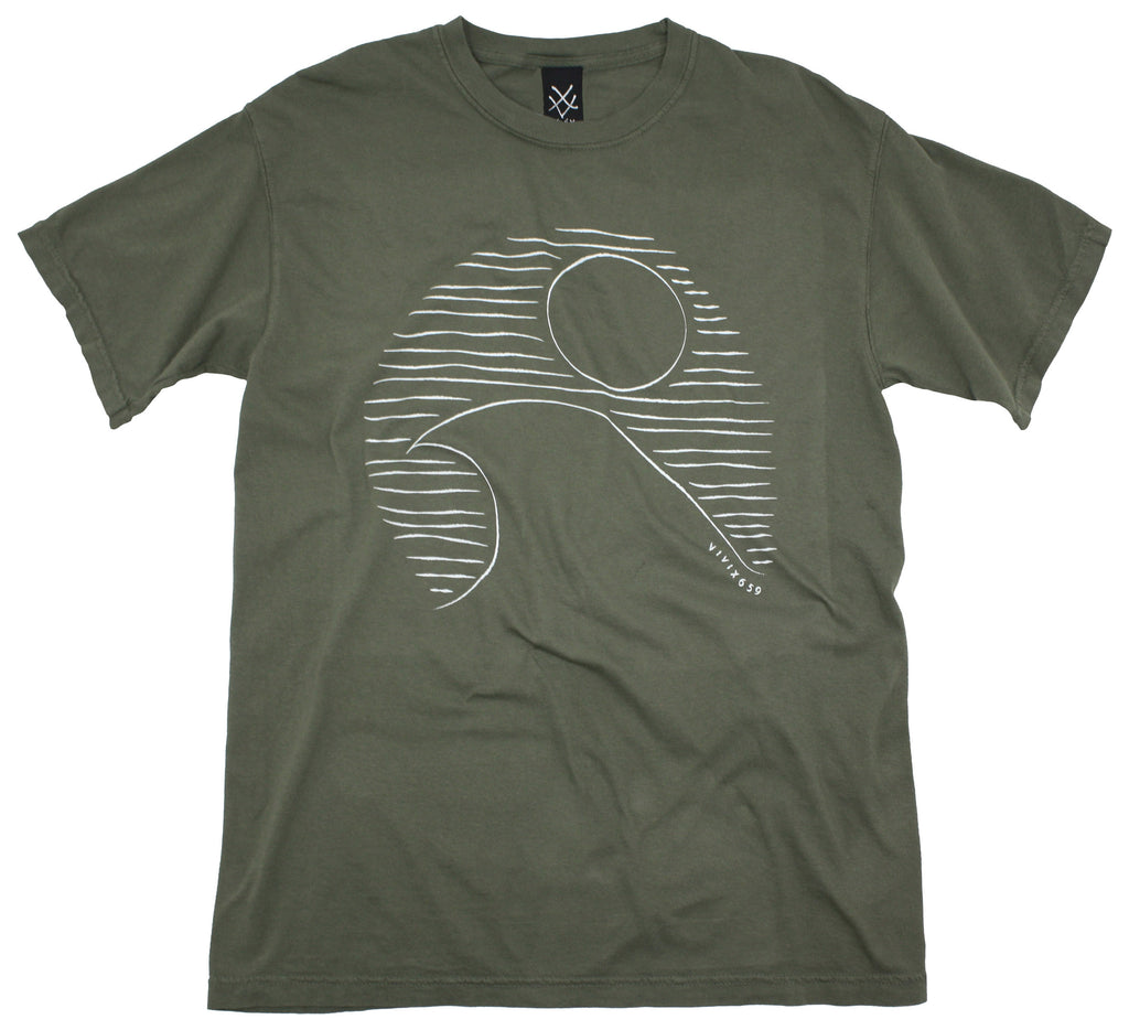 Mens artistic rendition of a sun and ocean tee shirt