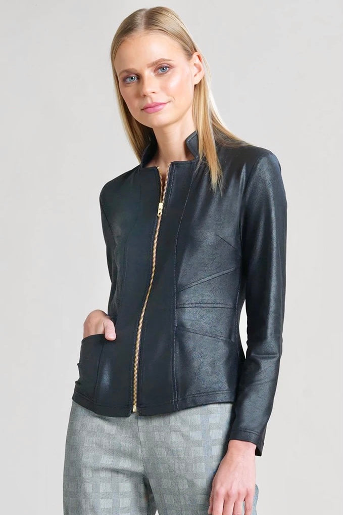 "Turn Heads In ""Chic"" Liquid Leather Jacket in Black & Camel"