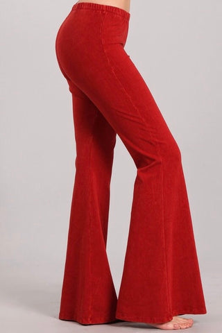 Hot Red Bell Bottoms In Mineral Wash - Wild & Personal Boutique