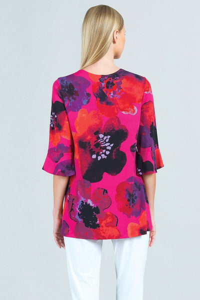 Poppy Print U-Neck Tulip Cuff Sleeve Tunic