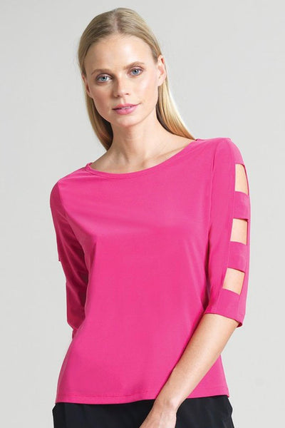 Ladder Sleeve Top In Hot Pink & Black