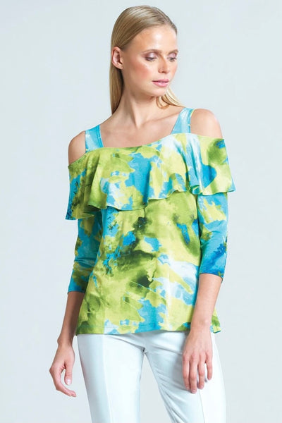 Watercolor Open Shoulder Ruffle Sweerheart ❤️