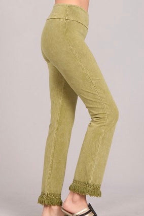 TOP Seller Cotton Fringe Pants In Mineral Wash - Going Nuts! - Wild & Personal Boutique