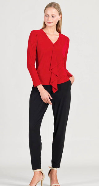 The Perfect Fit Red Cascade Drape Top