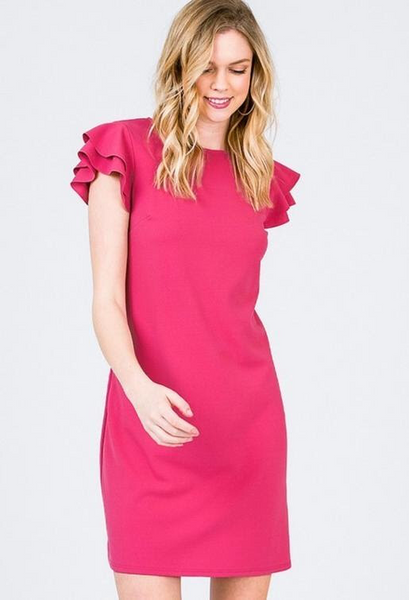 Fun Ruffle Cap Sleeve Dress In Coral, Hot Pink & Green. - Wild & Personal Boutique