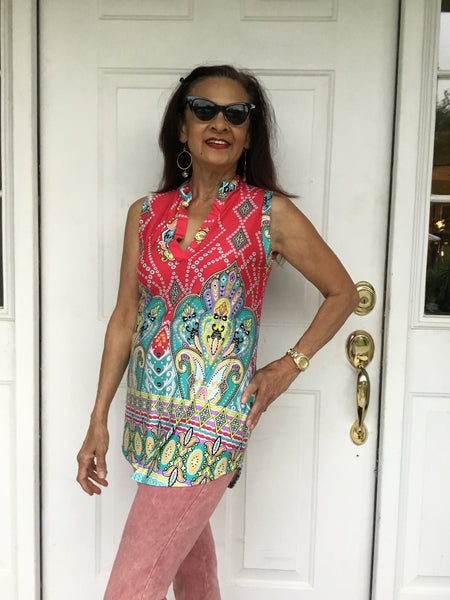 Striking & Colorful Tunic Top In All Sizes - Wild & Personal Boutique