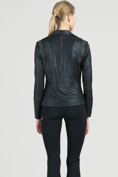Amazing Studded Liquid Leather Zip Jacket