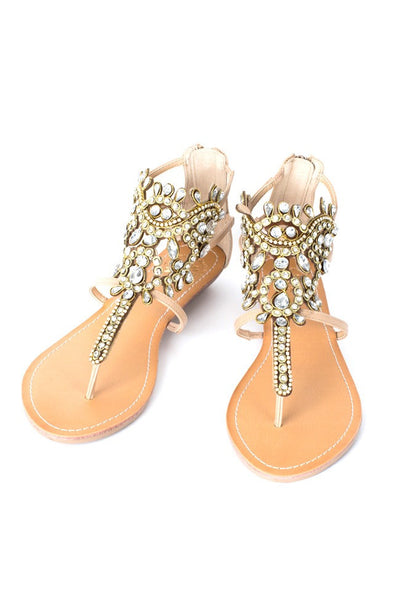 Araminta Sandal in Natural & Multi Color - Wild & Personal Boutique