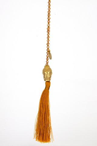 Bling-Bling Necklace Orange with Big Gold Buddha