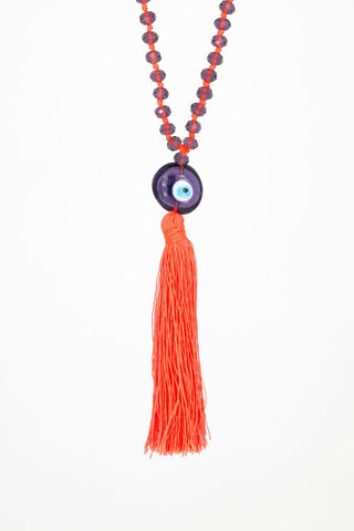 Bling-Bling Necklace Dark Blue/Orange with Turkish Eye