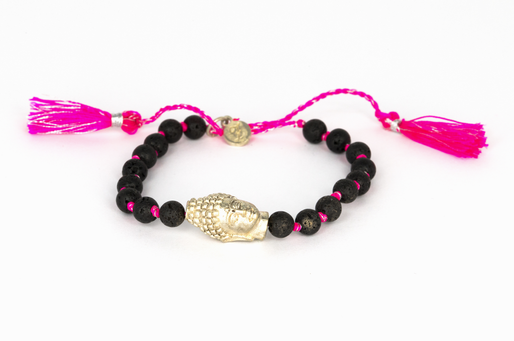 Lavastone with silver Buddha pink-silver