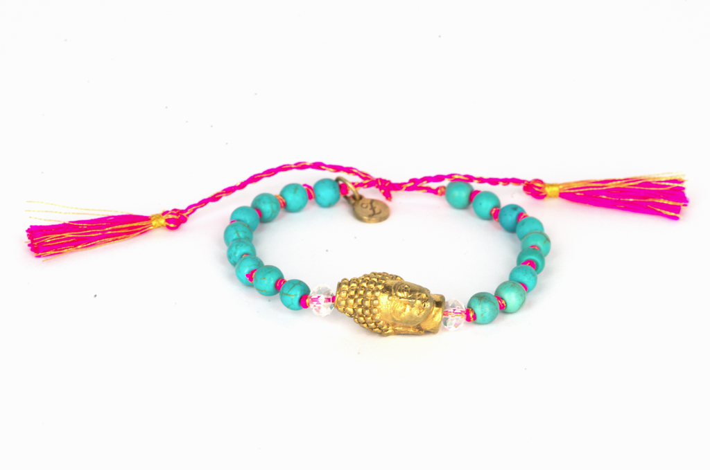 Turquoise stones with gold Buddha pink-gold