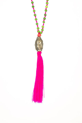 RN Buddha Necklace Silver/Pink