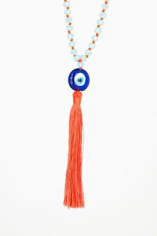Bling-Bling Necklace Light Blue/Orange with Turkish Eye
