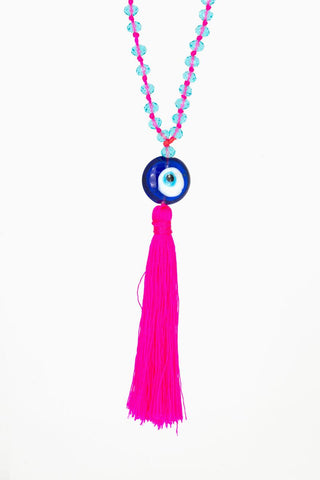 Bling-Bling Necklace Light Blue/Pink with Turkish Eye