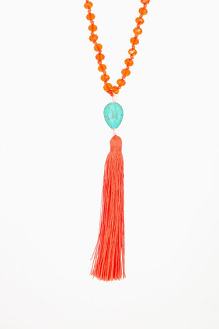 Bling-Bling Necklace Orange with Turquoise stone