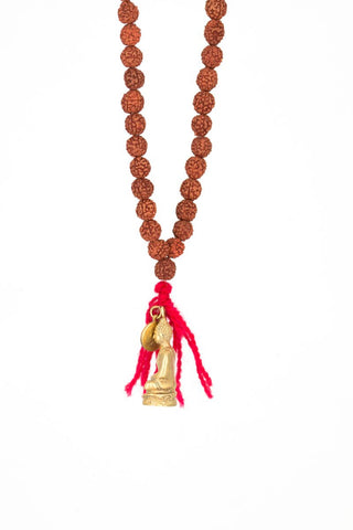 Rudraksha  Necklace with Gold Buddha