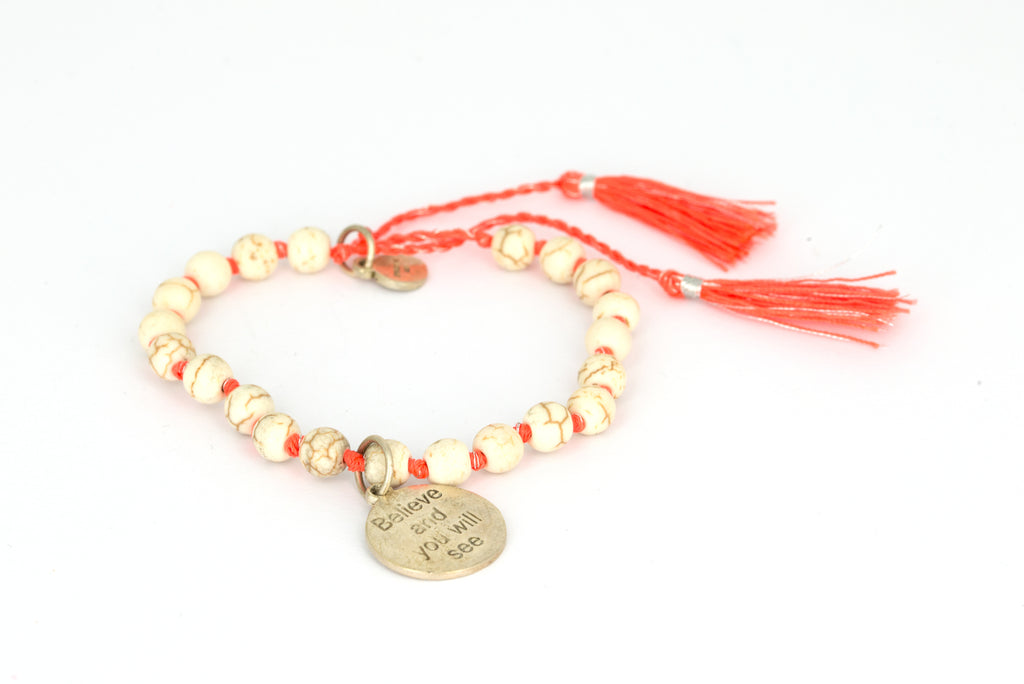 "RB Orange little with silver ""Believe and you will see"""