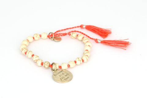 "RB Small ""Believe and you will see"" Orange/Silver"
