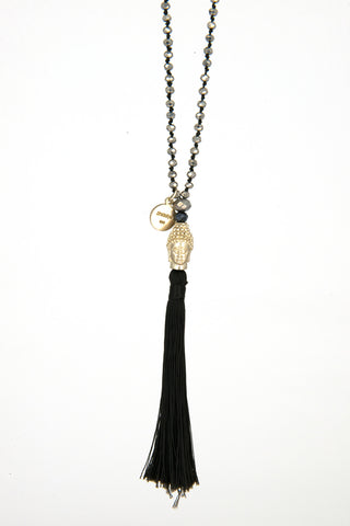 Bling-Bling Necklace Black with Gold Buddha