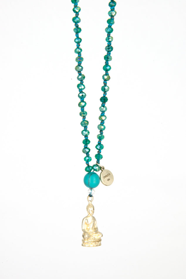 Turquoise Necklace with silver meditation Buddha