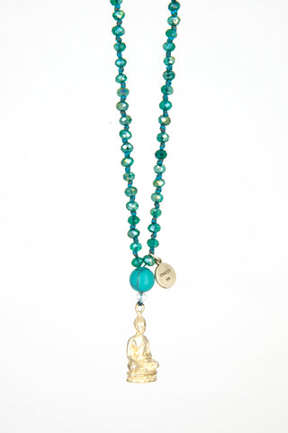 Bling-Bling Turquoise Necklace with Silver Meditation Buddha