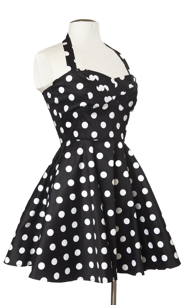 Haight Street Halter in Black Polka Dots