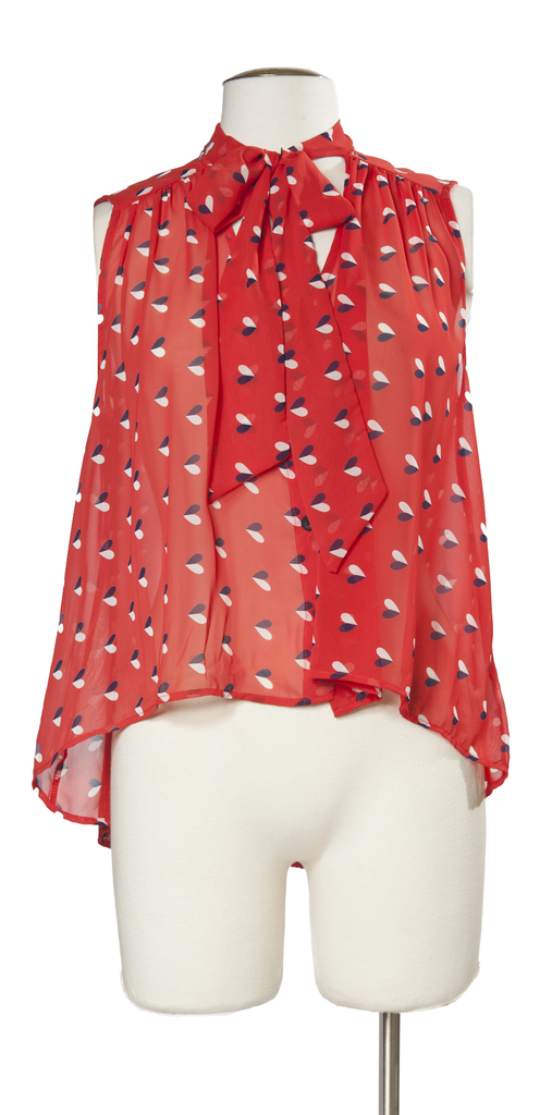 Red White and Hearts Top