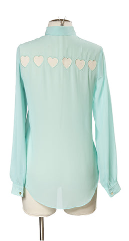 Hearts in a Row Top in Mint