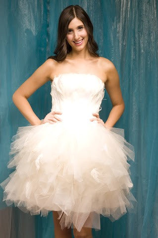Glamorous Wedding Dress with Feather Bodice and Tulle Skirt   Trendy ...