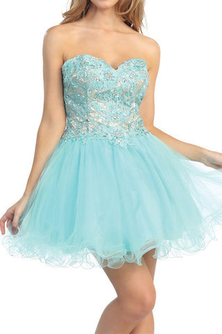 Lush Lace Party Dress in Aqua
