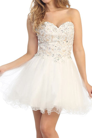 Lush Lace Party Dress in Ivory