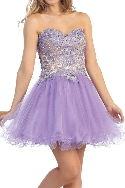 Lush Lace Party Dress in Lavender