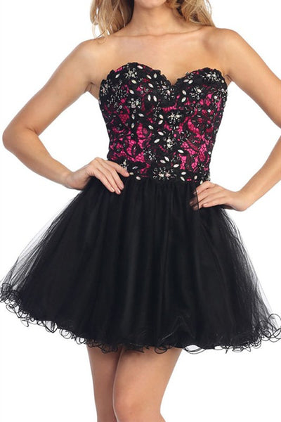 Lush Lace Party Dress in Black & Fuschia