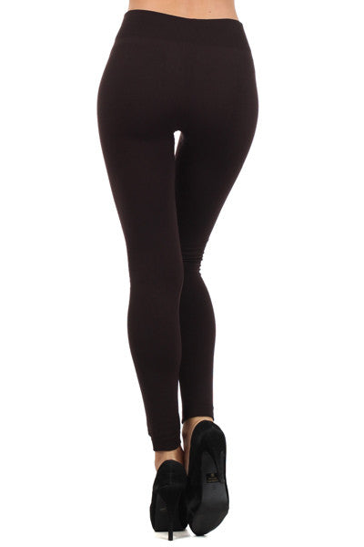Cozy Fleece Leggings in Dark Brown