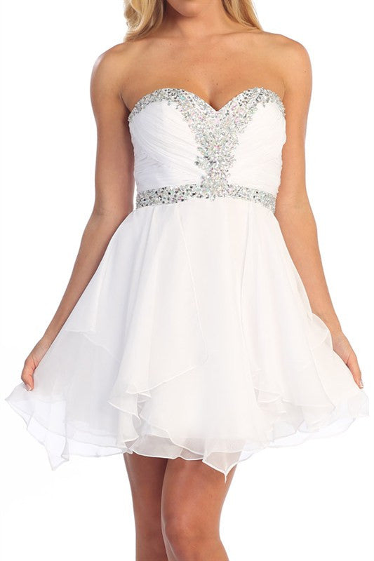 Grand Evening Out Party Dress in White