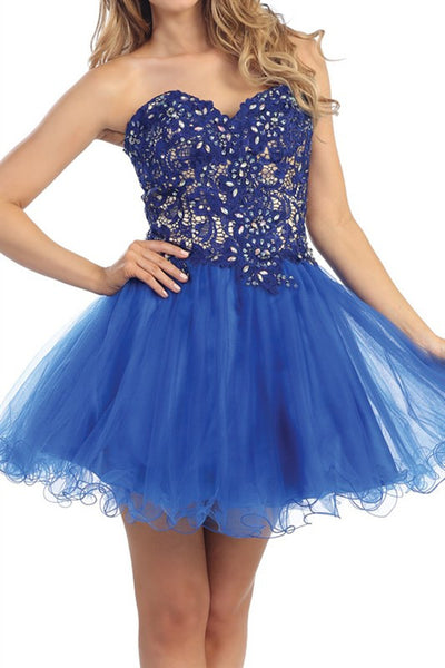 Lush Lace Party Dress in Royal Blue