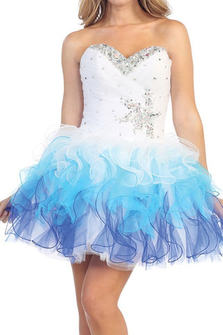 Lucky Star Party Dress in White and Blue