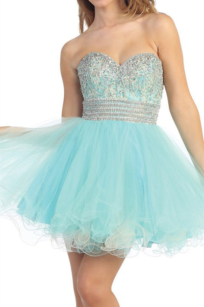Bastille Beaded Party Dress in Aqua