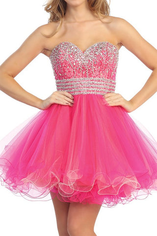 Bastille Beaded Party Dress in Fuschia