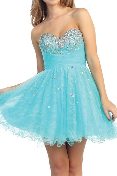 Promenade Pastel Party Dress in Aqua