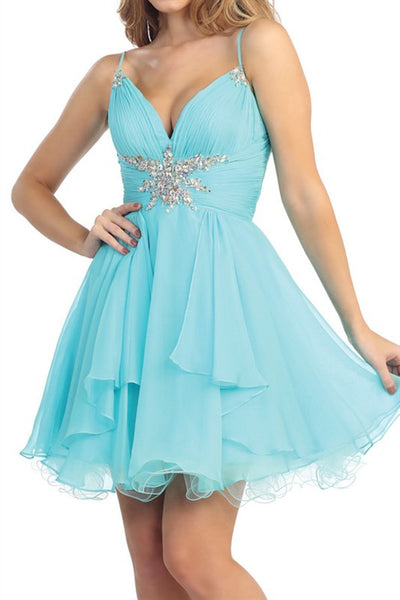 Star On the Seine Party Dress in Aqua