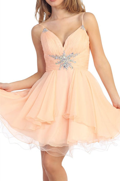 Star On the Seine Party Dress in Peach